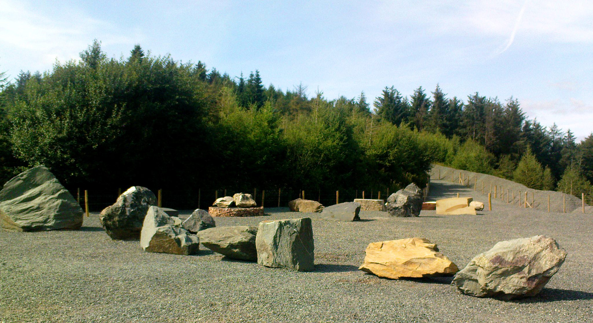 Large boulder exhibits of different rock types