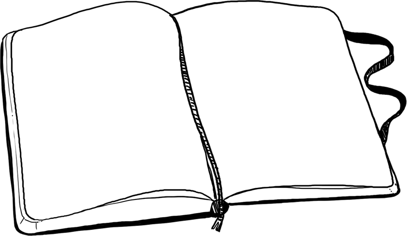 graphic of an opened notebook