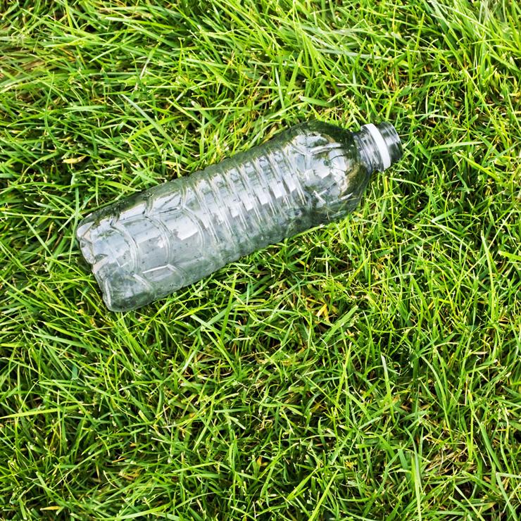 Plastic bottle on grass verge