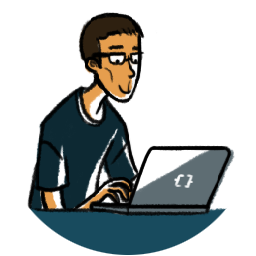 cartoon picture of man using laptop