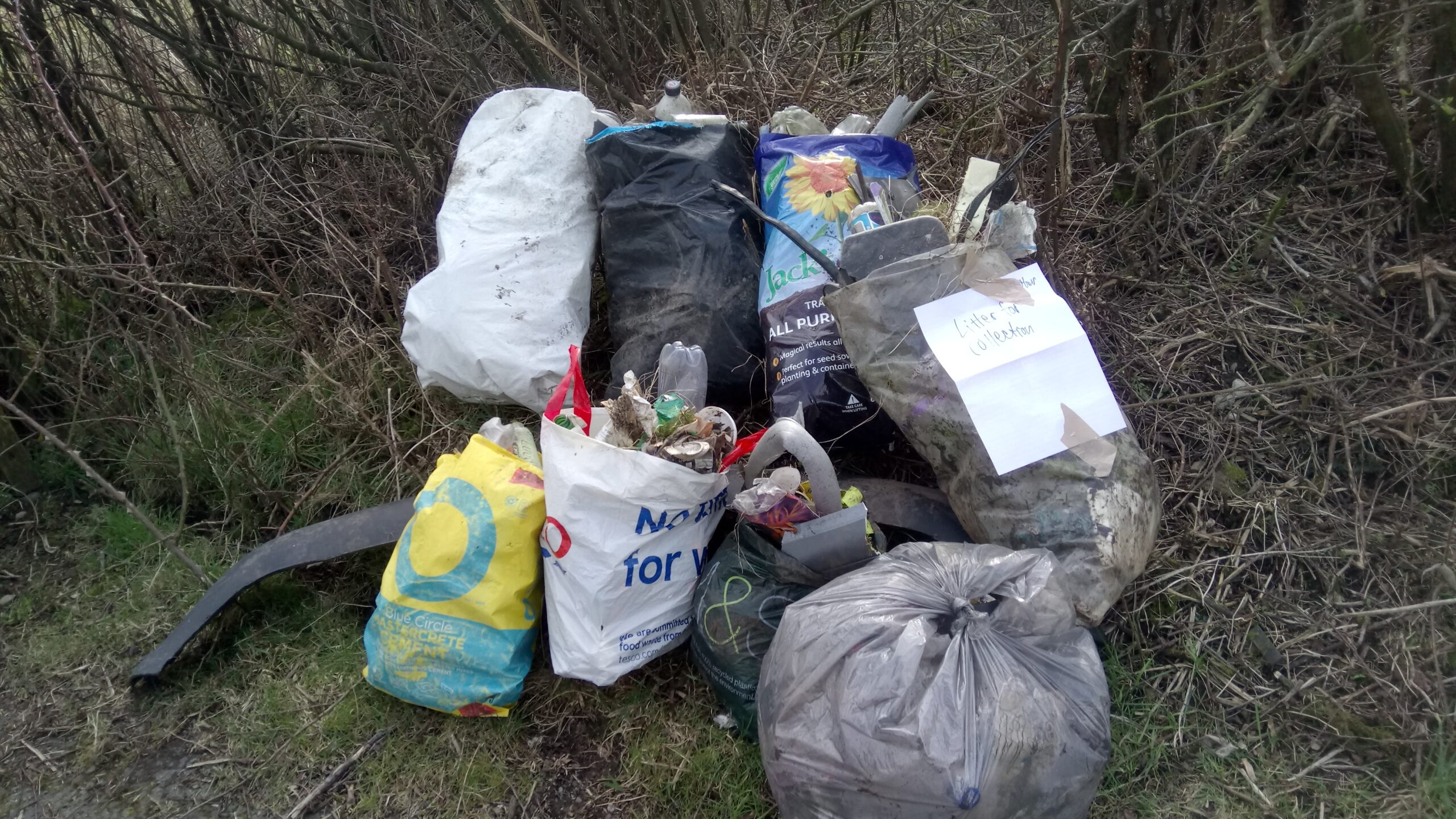 Bags of Collected Litter on A595
