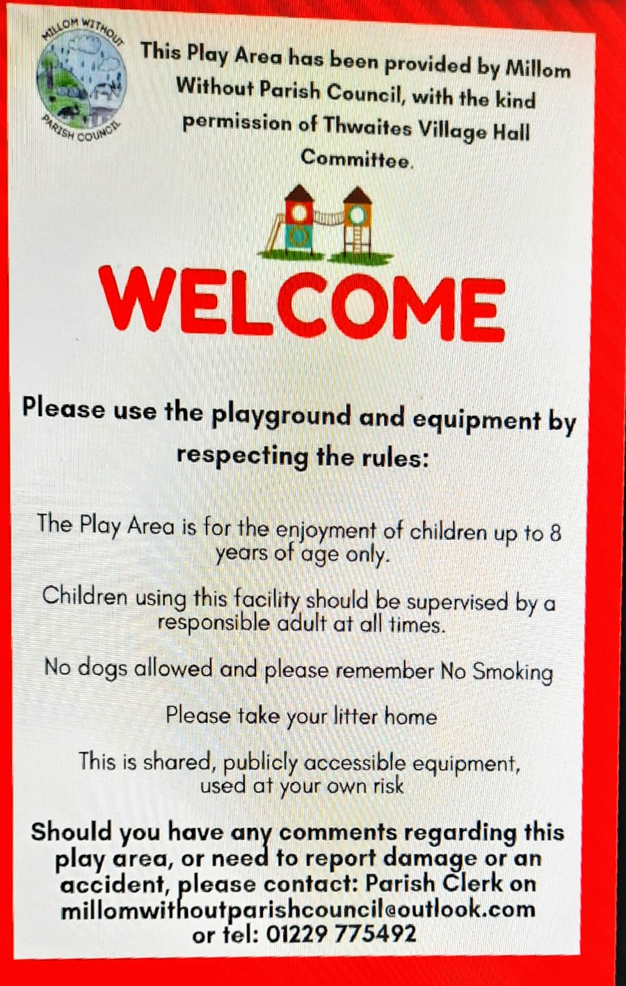 Notice of rules for the play area