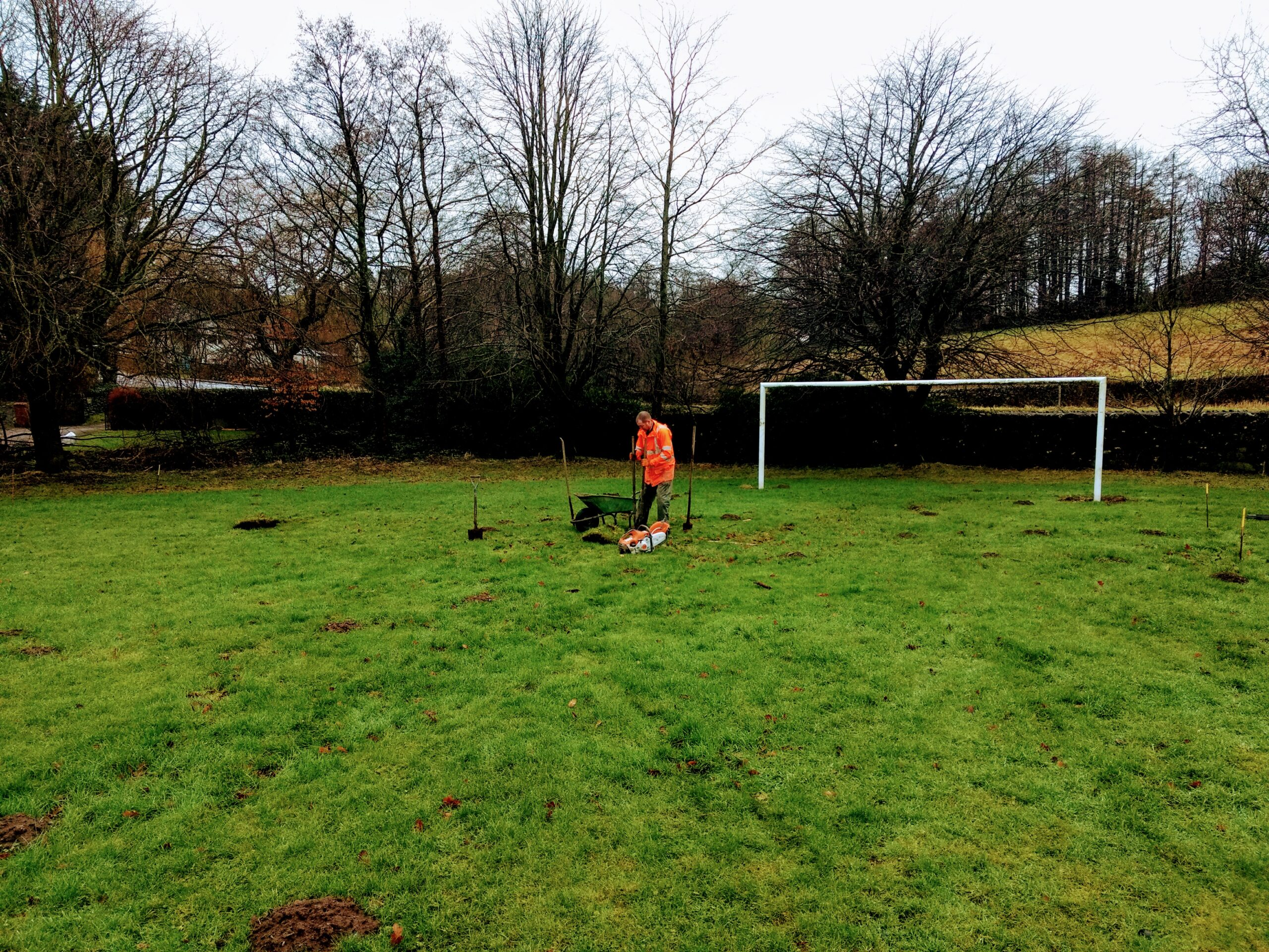 Digging out the new goalpost holes