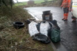 Collected waste in bags, Hall Bank Layby