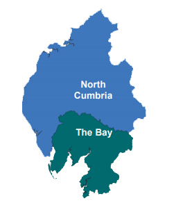 Map of Cumbria and North Lancashire with The Bay and North Cumbria Unitary Areas Shown